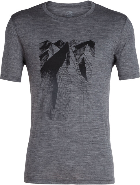 Icebreaker M's Tech Lite Geometry of Geology SS Crewe Shirt Gritstone Heather